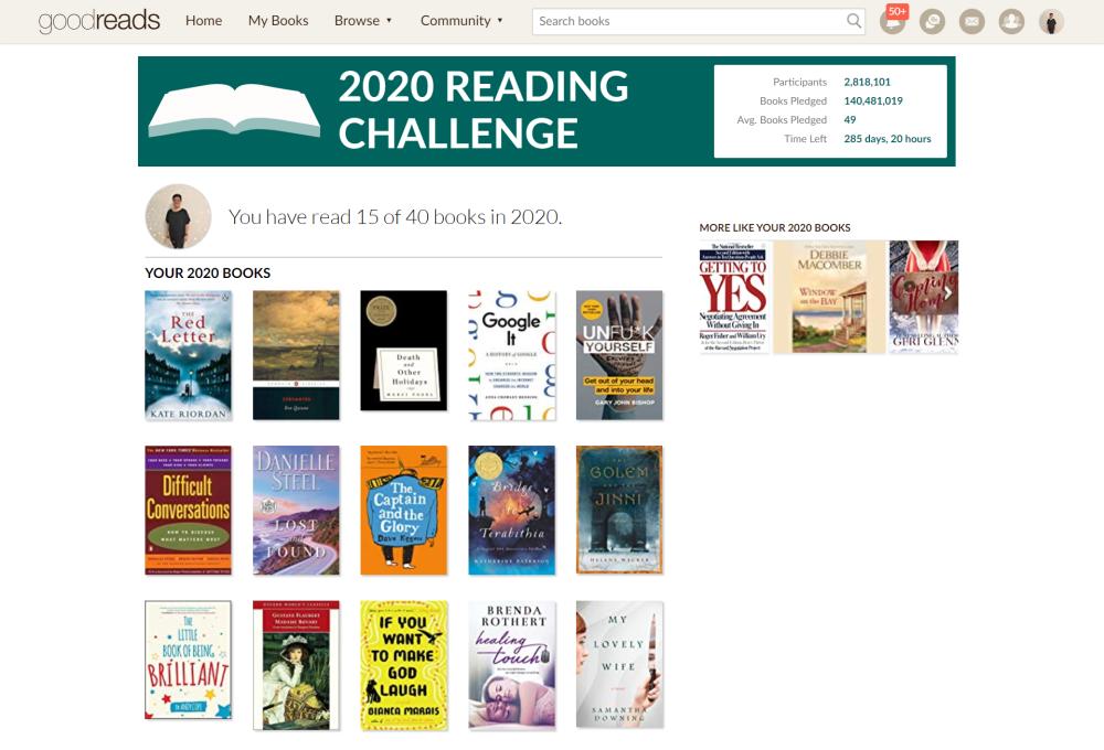 2020 Goodreads Reading Challenge